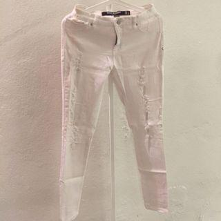 Factorie High Waisted Ripped White Pants