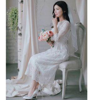 全新轉賣 原價2600 BABISU 正韓 高質感玫瑰刺繡蕾絲收腰洋裝