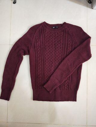 🚚 棉質編織圓領上衣/酒紅色