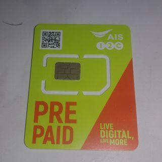 (Stock-2) Thailand AIS prepaid card, pre registered, roaming activated