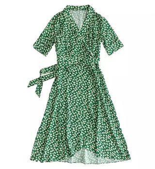綠色碎花V領一片式綁帶洋裝