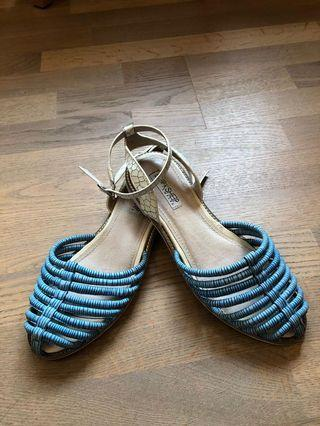 Black sheep blue and white leather sandal