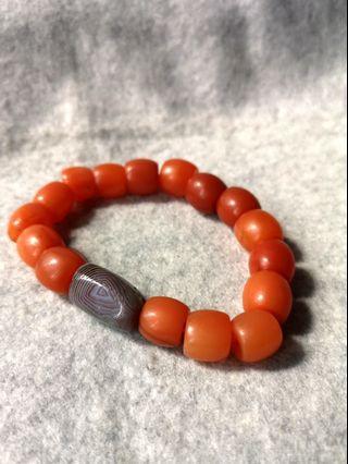 Tibetian 'AAA' Carnelian & Old Agate (with tzu sar - cinnabar dots)