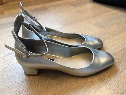 Charles & Keith silver Mary Jane heels
