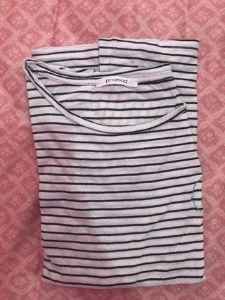 Promod white stripe t-shirt with sumer patch S
