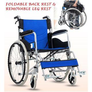 WHEELCHAIR - FOLDABLE BACK REST AND DETACHABLE LEG REST, SELF PROPEL, LIGHT WEIGHT AND PORTABLE
