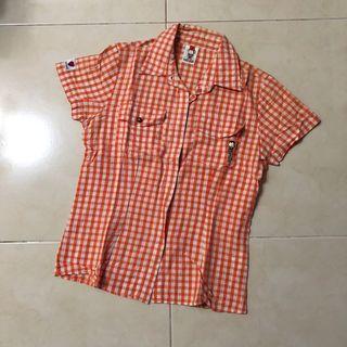馬桶洋行短袖格紋襯衫(橘)