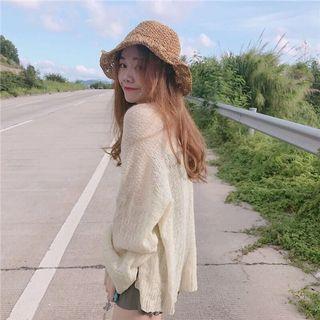 杏色薄料罩衫外套