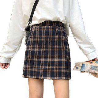 經典棕格紋褲短裙
