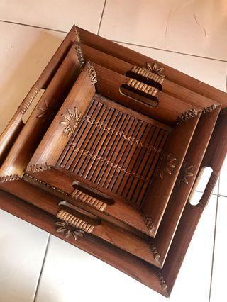 Wood Tray (3 beradik)