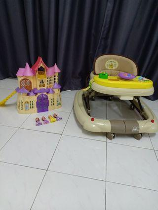 Baby Walker and princess Sofia doll house both in 100 rm