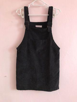 Black suede pinafore