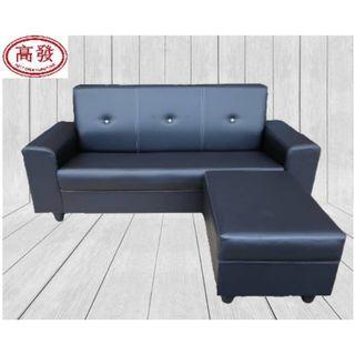 L Shape SoFa / 3 Seater + 1 Stool / PVC Leather SoFa