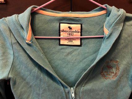 Abercrombie 綿 女裝有帽外套 長 藍色 (碼偏細 屬S size)