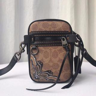 COACH 36714 新款經典PVC配皮個性印花迷你單肩斜挎小包包