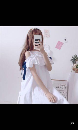 韓國簡單淨色款連身裙白粉藍黃三色選擇free size $120本月優惠價