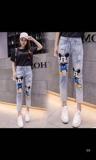 Mickey Mouse Jeans古着米奇老鼠牛仔褲