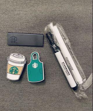 Starbucks Nametag w Chalk Marker, Green Apron & Hot Cup Button