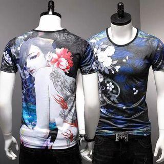🚚 Men Tshirt Short Sleeve Ice Silk Soft Elastic Cooling 680