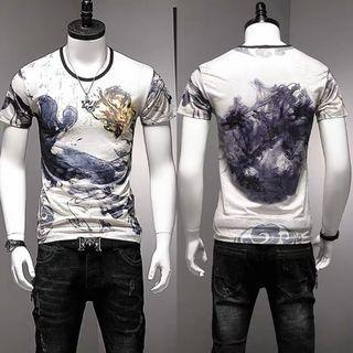 🚚 Men Tshirt Short Sleeve Ice Silk Soft Elastic Cooling 636