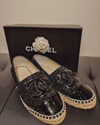 Used 1x Chanel Espadrilles black sequence size 35
