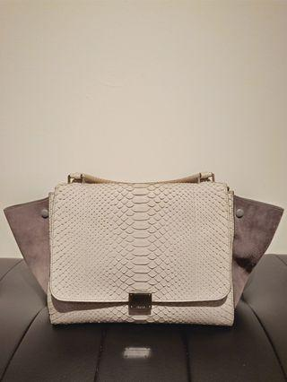 Celine trapeze medium grey embossed leather