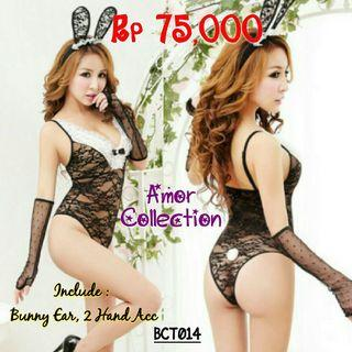 Lingerie kostum seksi bunny black (BCT014) By AMOR COLLECTION