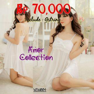 Lingerie silk satin putih (WSW004) By AMORCOLLECTION
