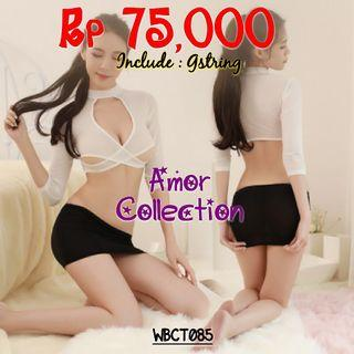 Lingerie kostum sekertaris hitam putih (WBCT085) By AMORCOLLECTION