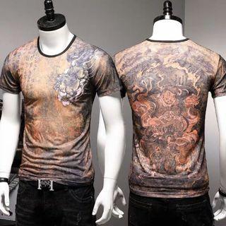 🚚 Men Tshirt Short Sleeve Ice Silk Soft Elastic Cooling 641