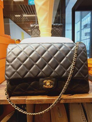 Chanel clutch on chain black Lambskin Ghw #17