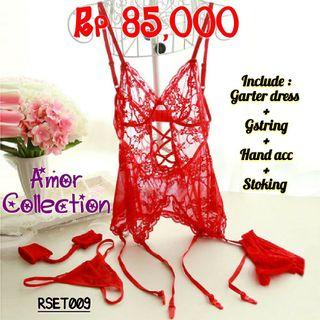 Lingerie set with hand acc red (RSET009) By AMORCOLLECTION