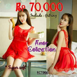 Lingerie seksi kostum maid merah soft (RCT066) By AMORCOLLECTION