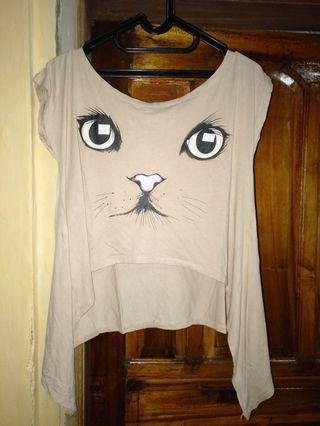 Baju crop cat bahan adem