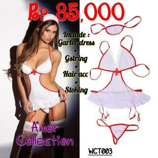 Lingerie seksi kostum suster (WCT003) By AMORCOLLECTION