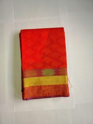 🚚 Orange silk saree for just $35