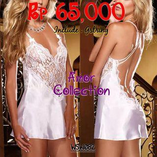 Lingerie seksi backless putih (WSW082) By AMORCOLLECTION