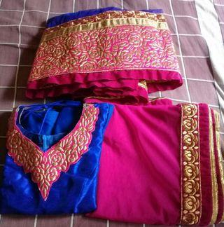 Indian traditional female dress -LEHENGA - tailor stitched - Blue and pink colour gorgeous lengha for teens/ adults -  negotiable price