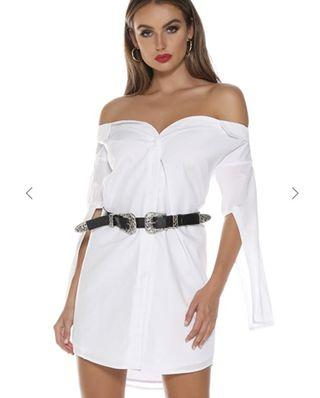 Runaway the Label - White Shirt Off Shoulder Dress