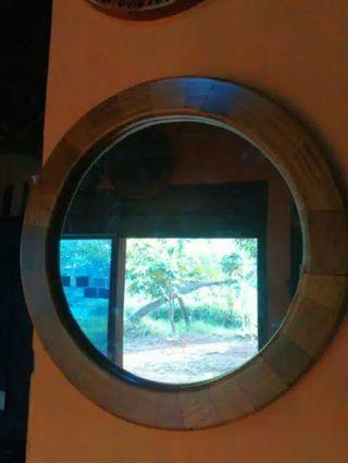 Cermin Hias Bahan Kayu jati Unik,Bagus uk 40cm