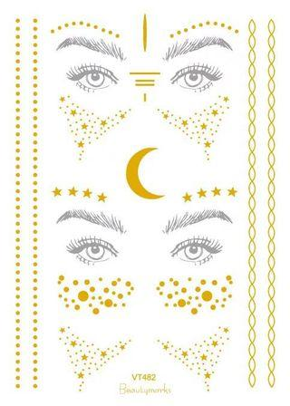 🚚 Trendy Freckle lentigo sticker festival party make up face golden tattoo glitter adhesive fashionable stylish look