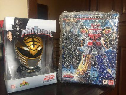 MMPR Power Rangers White Ranger 1/4 helmet and SRC Megazord Combo