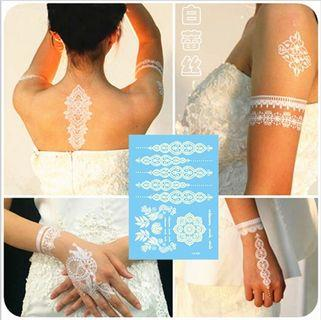 White Lace Tattoo stickers temporary body print pattern design stylish trendy tatoo tatto washable wash off accessories