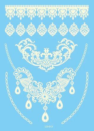 🚚 White Lace Tattoo stickers temporary body print pattern design stylish trendy tatoo tatto washable wash off accessories