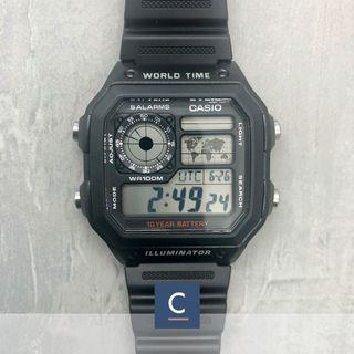 """🚚 🔴GSS🔴: ✅FREE Shipping ✅💯Authentic Casio Classic """"Casino Royale"""" Men's Black Resin Black Strap Watch AE1200WH-1A"""