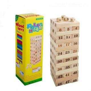 Parent n Kids Time Jenga Style Wooden Block Game