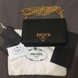 Prada Saffiano Lux 雙層鏈帶皮夾
