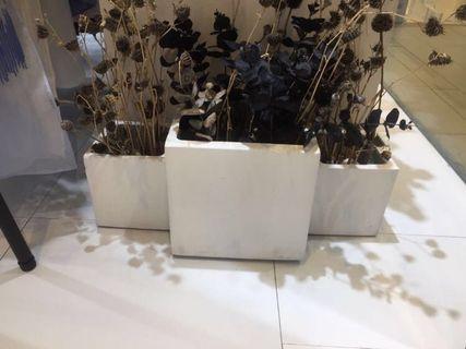 白色水泥花盤/裝飾盤景 White cement vase