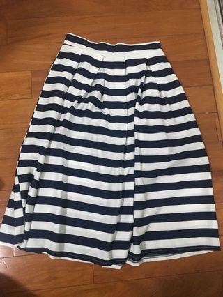 navy blue chiffon stripe skirt