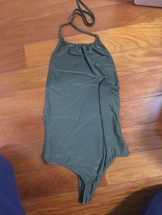pretty little thing khaki backless halter bodysuit plt